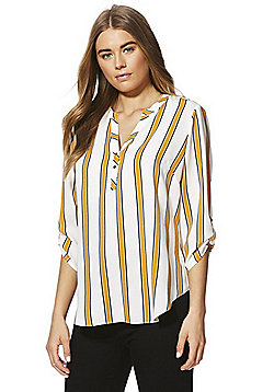 F&F Striped Collarless Shirt - Cream/Yellow