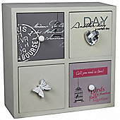 Eclectic - 4 Drawer Mini Storage Chest - Grey / Pink