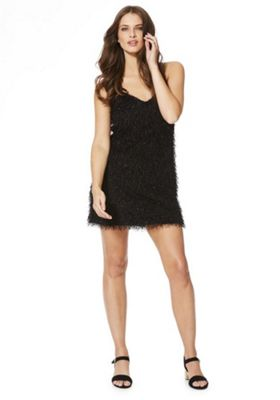 Noisy May Woody Sparkle Fringed Dress XL Black
