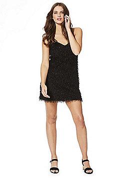Noisy May Woody Sparkle Fringed Dress - Black