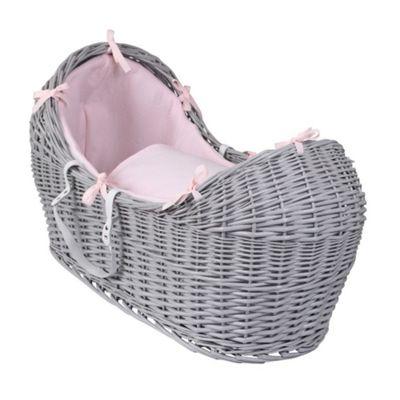 Clair de Lune Grey Noah Pod Moses Basket (Cotton Candy Pink)