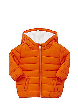 F&F Fleece Lined Shower Resistant Padded Coat - Orange