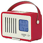 Kitsound Swing Portable Digital FM Radio with LCD Screen and Alarm Clock - Red