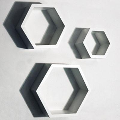 Hexagon - Wall Mounted Storage / Display Shelves - Set Of 3 - White