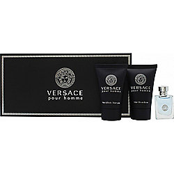 Versace Pour Homme Gift Set 5ml EDT + 25ml Hair & Body Shampoo + 25ml Aftershave Balm For Men