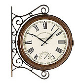 Outside In Greenwich Station Double Sided Clock and Thermometer 15in