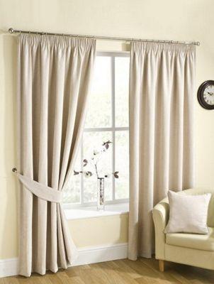 Ribeiro Chenille Pencil Pleat Curtains, Champagne 168x137cm