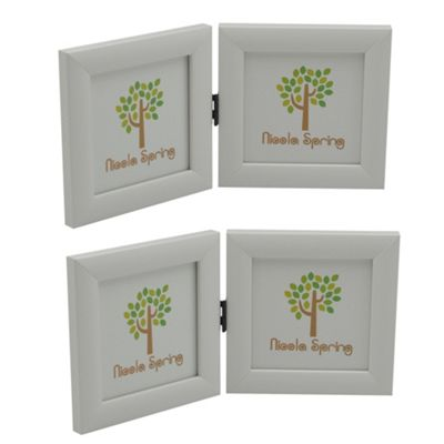 White 4x4 Folding Double Photo Frame - Standing - Pack of 2