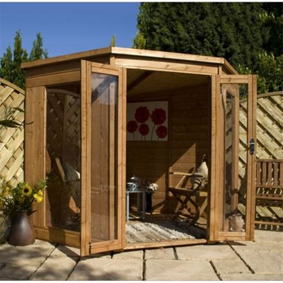 7 x 7 Sutton Value Tongue and Groove Corner Summerhouse Garden Wooden Summerhouse (7ft x 7ft)