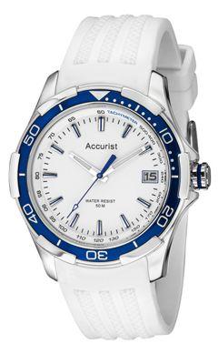 Accurist Gents White Rubber Strap Watch MS860WW