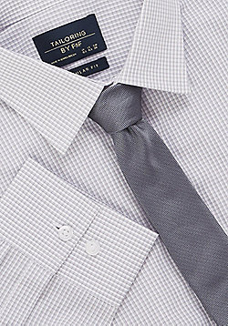 F&F Regular Fit Long Sleeve Shirt with Tie - Grey