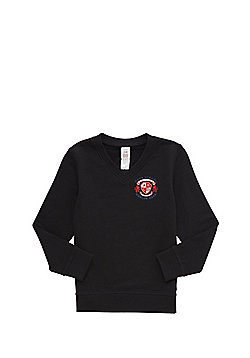 Unisex Embroidered Cotton Blend School V-Neck Sweatshirt with As New Technology - Black