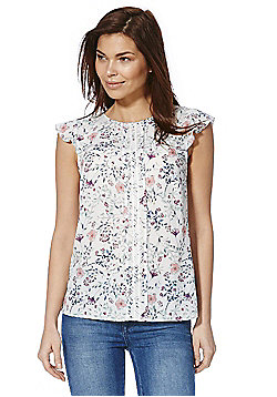 F&F Lace Trim Floral Print Top - White