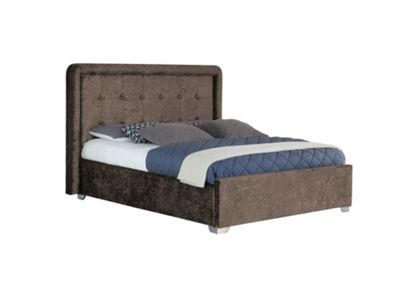 Comfy Living 5ft King Size Crushed Velvet Bed Frame with Upholstered Headboard in Brown with Sprung Mattress