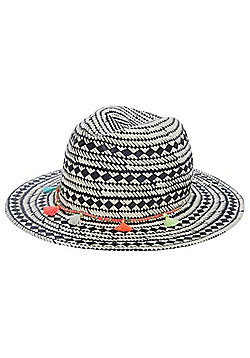 F&F Festival Straw Fedora Hat - Natural
