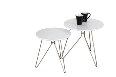 Alegro Set of 2 Nesting Tables - White-WNT03W