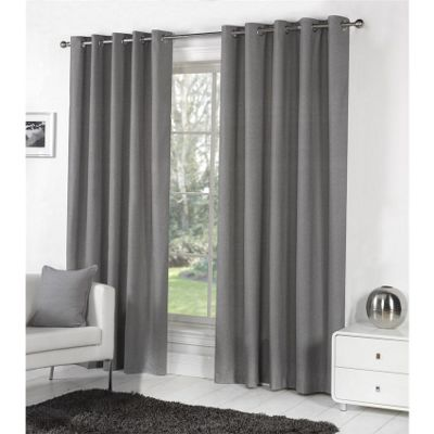 Fusion Sorbonne Eyelet Lined Curtains Charcoal - 90x72 (229x183cm)