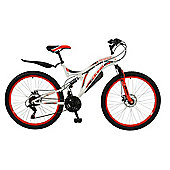 "Boss Ice White 26"" Full Suspension Mountain Bike"