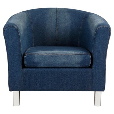 Tub Fabric Accent Chair Denim