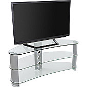 AVF Curved Glass TV Stand For up to 60 inch TVs - Clear Glass and Chrome Legs