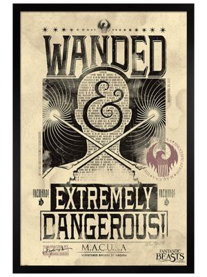 Fantastic Beasts Black Wooden Framed Extremely Dangerous Poster 61x91.5cm