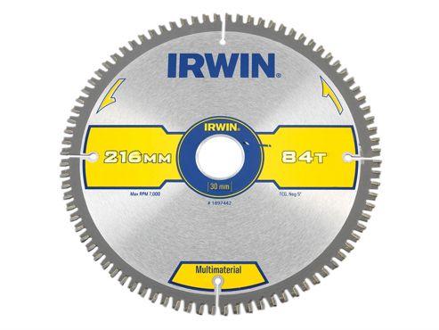 Irwin Multi Material Circular Saw Blade 216 x 30mm x 84T TCG/Neg