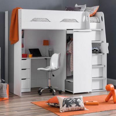 Happy Beds Pegasus Wood Kids High Sleeper Desk Drawers Storage Bed with Pocket Spring Mattress - White - 3ft Single