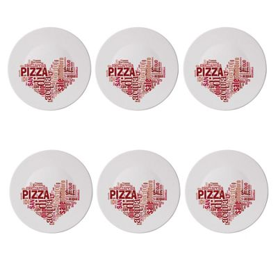 Bormioli Rocco Ronda Glass Table Serving Pizza Plates - Red Heart Design - 330mm - Pack of 6
