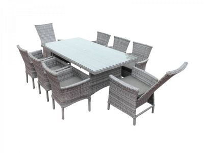 Cambridge 2 Reclining & 6 Stackable Chairs and Large Rectangular Dining Table Set in Grey