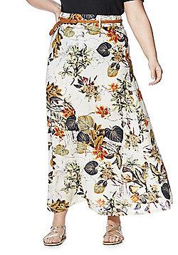 Izabel Curve Leaf Print Plus Size Maxi Skirt with Belt - Multi
