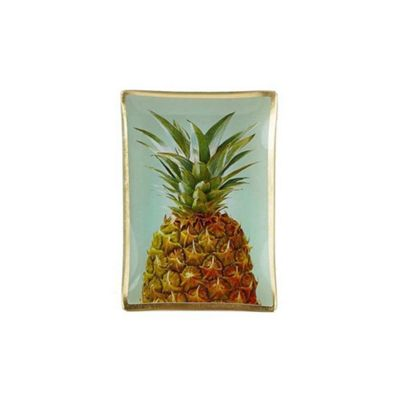 Villa Collection Glass Jewelry Make Up Tray Candle Plate PINEAPPLE Design 14cm x 10cm