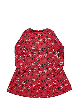 F&F Heart Print Jersey Swing Dress - Red