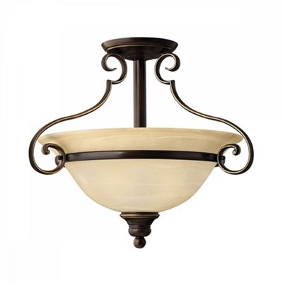 Antique Bronze 2lt Semi-Flush - 2 x 60W E27