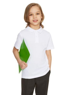 F&F School 2 Pack of Boys Polo Shirts With As New Technology 3-4 yrs White