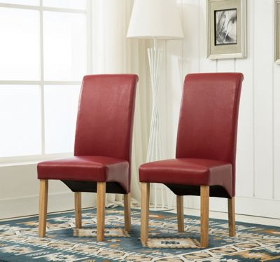 Set of 2 Faux Leather Dining Chairs Roll Top Scroll High Back (Red)