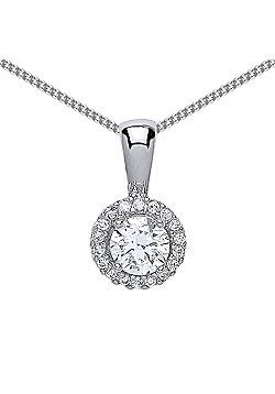 Rhodium Plated Sterling Silver Round Brilliant Cubic Zirconia Halo Pendant Necklace 18 inch