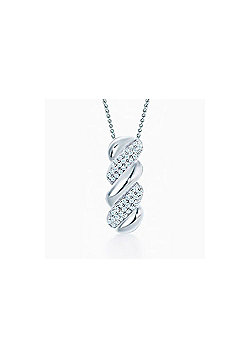 REAL Effect Rhodium Plated Sterling Silver white Cubic Zirconia Jeweled Twister Twist Pendant - 16/18 inch