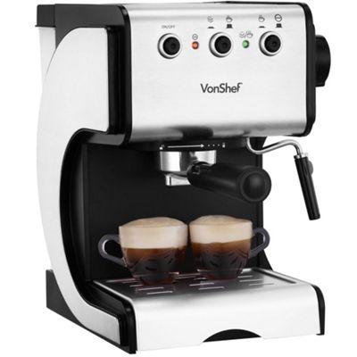 VonShef Premium Stainless Steel 1050W 15 Pump Espresso Coffee Maker Machine With Cup Warming Plate