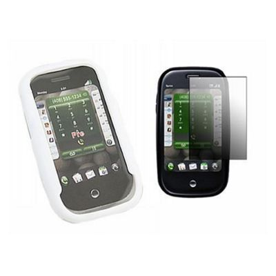 iTALKonline LCD Screen Protector, Cleaning Cloth and Hybrid Case White - For Palm Pre