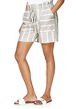 F&F Striped Linen Blend Paperbag Waist Shorts - Grey & White