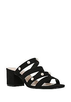 F&F Sensitive Sole Faux Pearl Mules - Black