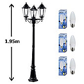 Traditional IP44 Three Way LED Outdoor Lamp Post in Black with Warm White Bulbs