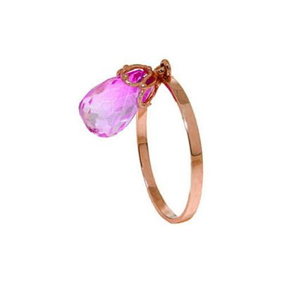 QP Jewellers 3.0ct Pink Topaz Briolette Crown Ring in 14K Rose Gold - Size M 1/2