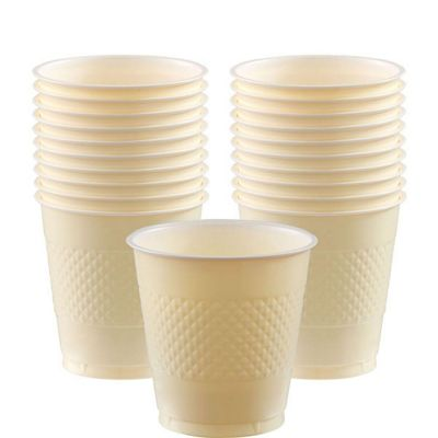 Ivory Cups - 355ml Plastic Party Cups - 20 Pack
