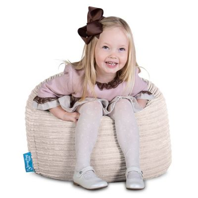 Lounge Pug® Childrens Beanbag Chair - Cord Ivory