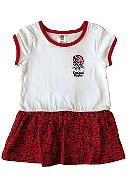 England RFU Rugby Baby Girls Rose Dress | 2017/18 - White & Red