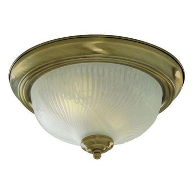 Flush 2 Light Flush ceiling Light antique brass