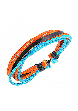 Men's Brown Leather, Orange & Blue Cord Strand Bracelet by Urban Male