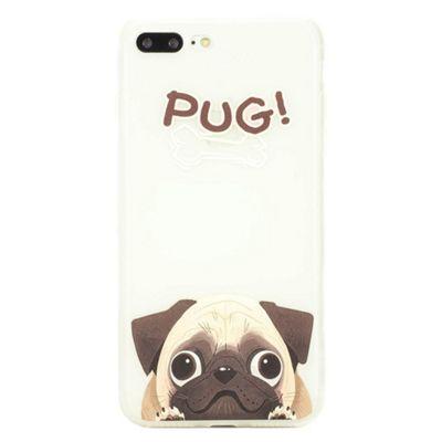 iPhone 8 Plus TPU Cute Pug Dog Illustration Slim Protective Case - Multi