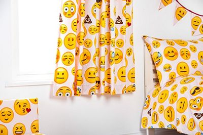 Ready Steady Bed Kids Emoji Girl Theme Pencil Pleat Curtains 66x54 with Tiebacks